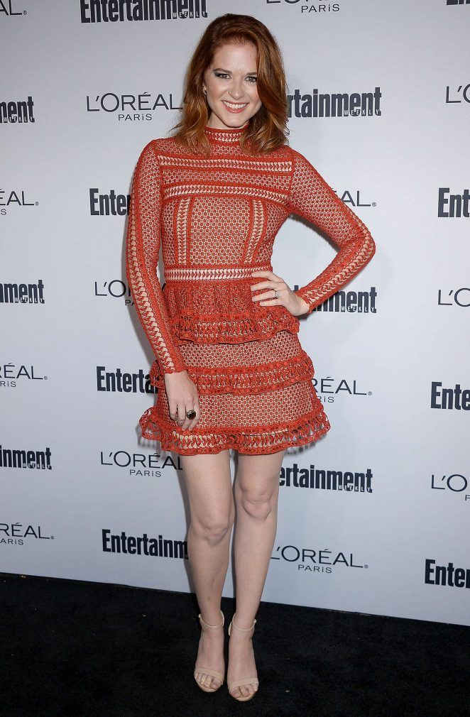 Actress Sarah Drew attending  Entertainment Weekly's 2016 Pre-Emmy Party at Nightingale Plaza. Sarah Drew portrayed the role of Dr. April Kepner in Grey's Anatomy