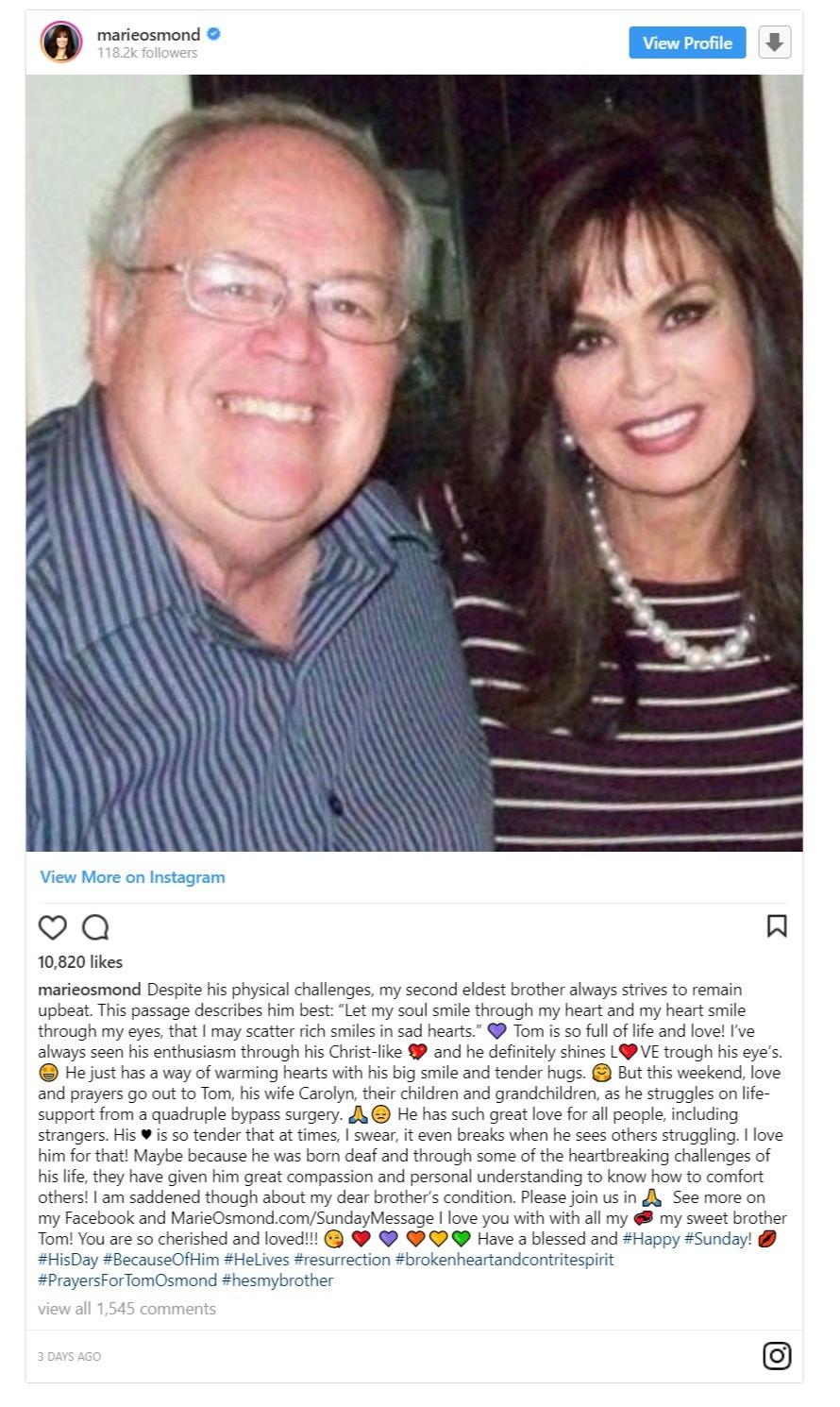 Marie Osmond's Instagram post regarding her brother, Tom Osmond's health condition