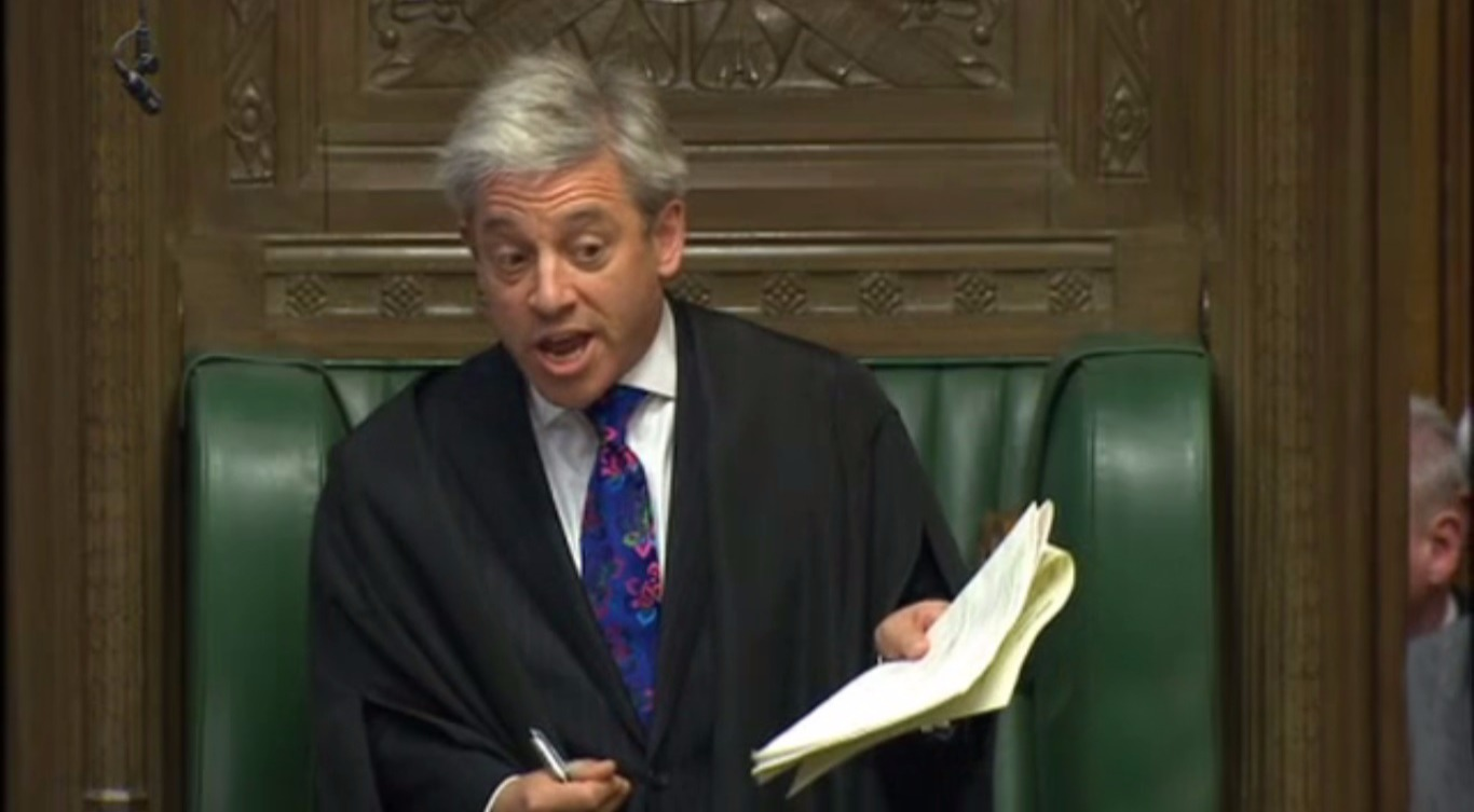 John Bercow the speaker of the house, gets furious at MPs.