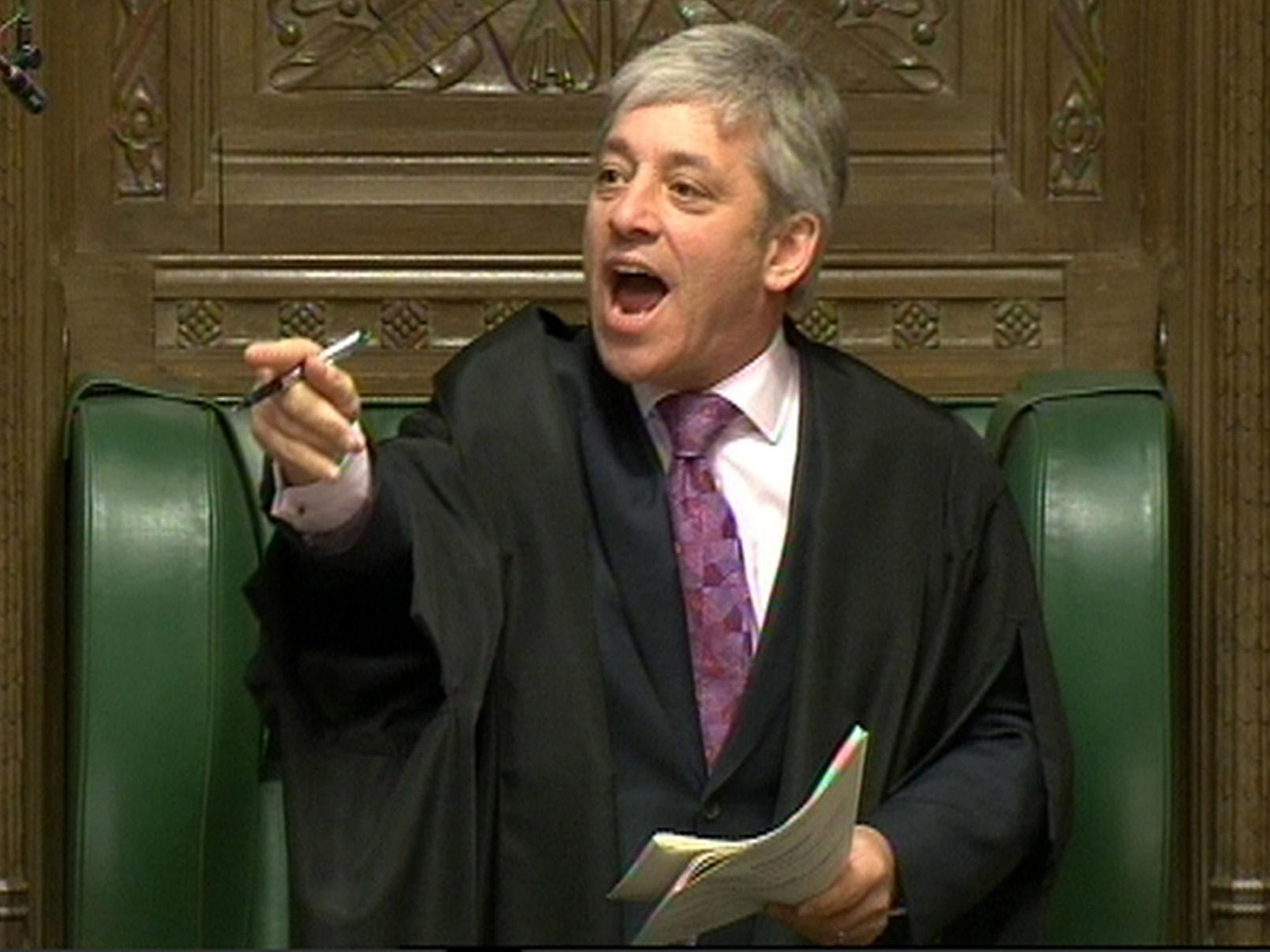 House of Parliament speaker John Bercow addresses to issues.