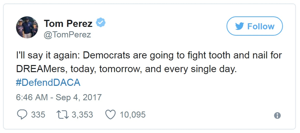 Tom Perez tweeting about ending the DACA program
