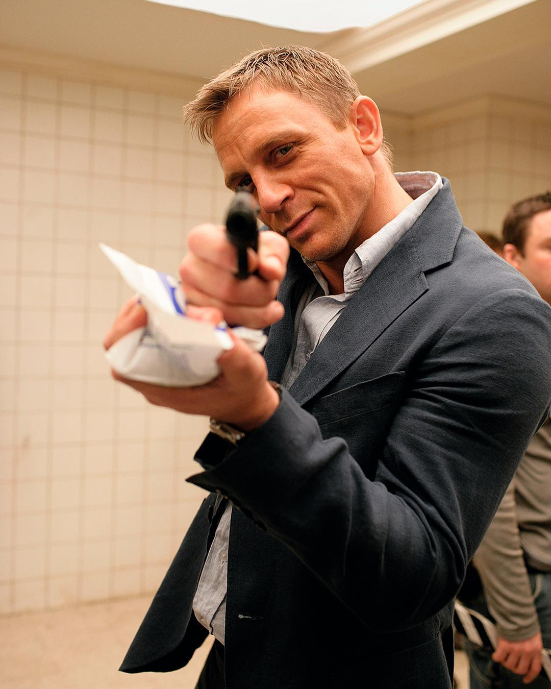 Daniel Craig on action in the set of James Bond film, Casino Royale