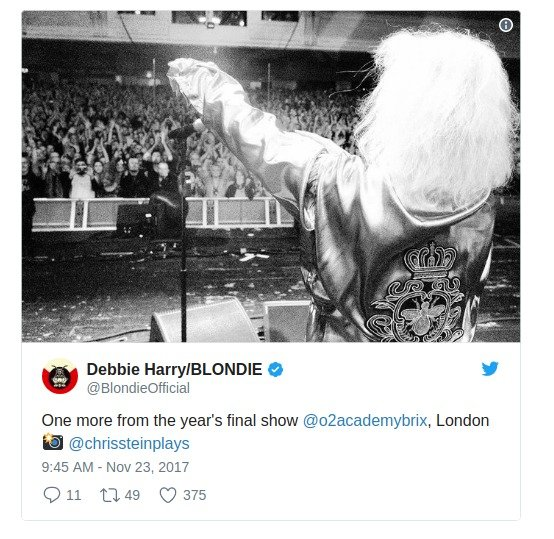 Debbie Harry sharing a photo from the Blondie Pollinator tour November 2017.