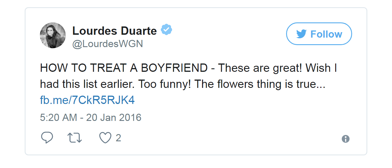 """On 20 Jan 2016, Lourdes Daurte tweeted a post which says """"HOW TO TREAT A BOYFRIEND."""" She does not have a husband but she might have a boyfriend."""