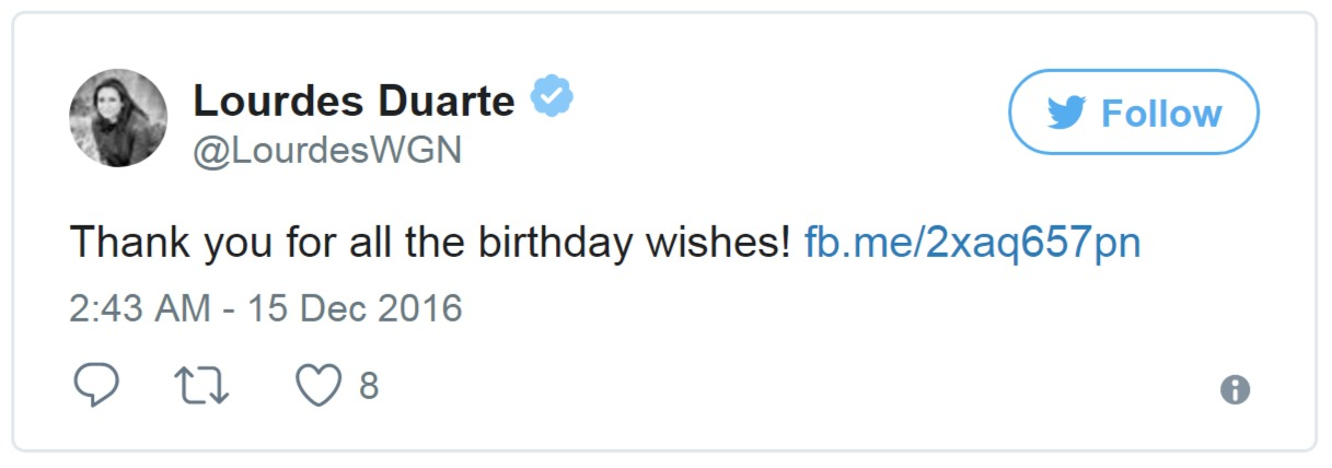 """Lourdes Duarte thanked all of those who wished her on her birthday by tweeting a short message. She wrote, """"Thank you for all the birthday wishes!"""""""