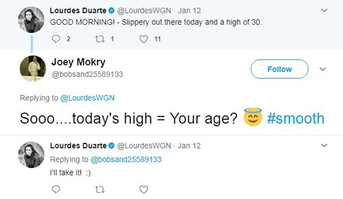 Lourdes Duarte tweeted a short message on 12 Jan 2017 and Joey Mokry, one of her followers on Twitter, predicted her age.