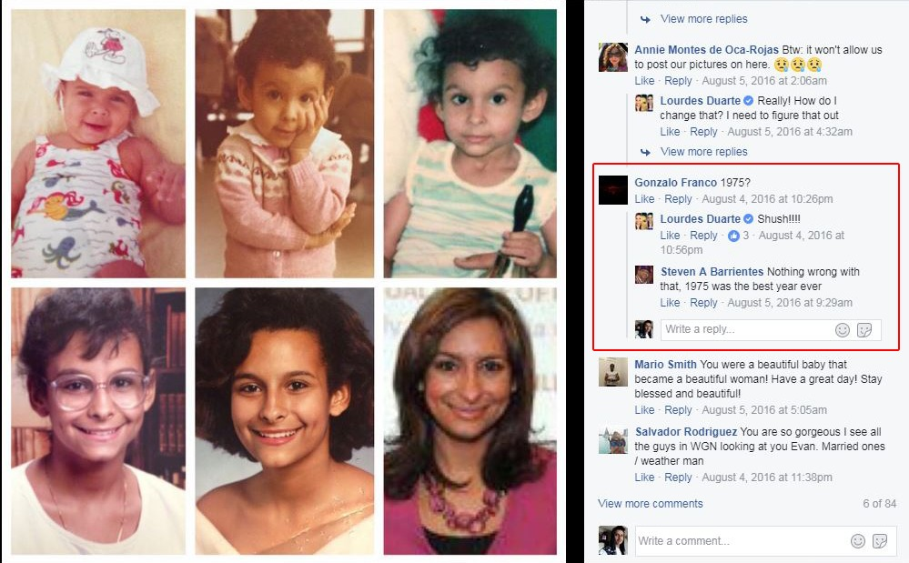 A collage of Lourdes Duarte's photos of different age. The collage contain picture from childhood to adulthood. In the comment section, she indicated that she was born in 1975.