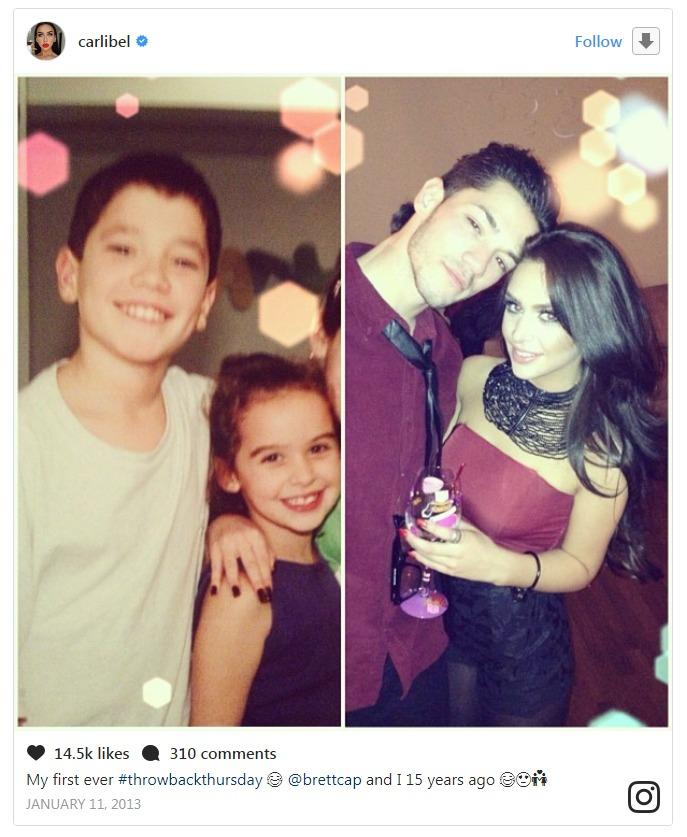 Childhood friends-turned-sweethearts: Carli Bybel and Brett Cap. Carli introduced Brett as his boyfriend in 2013.
