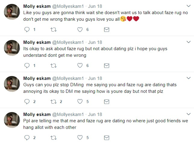 Molly Eskam trying avoid questions in Twitter comments about her relationship with FaZe Rug