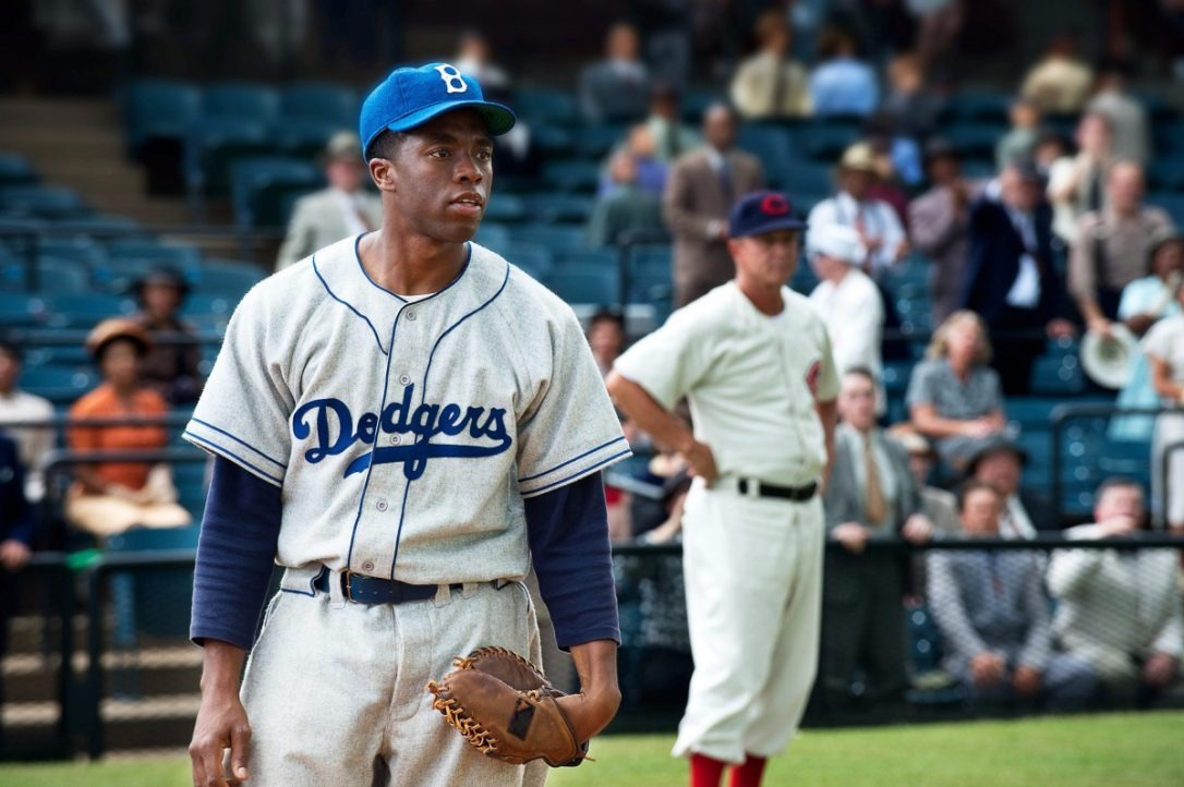 Chadwick Boseman as Jackie Robinson in 2013 biopic film 42