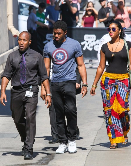 Chadwick Boseman walking with a mystery woman in June 2017 in Hollywood