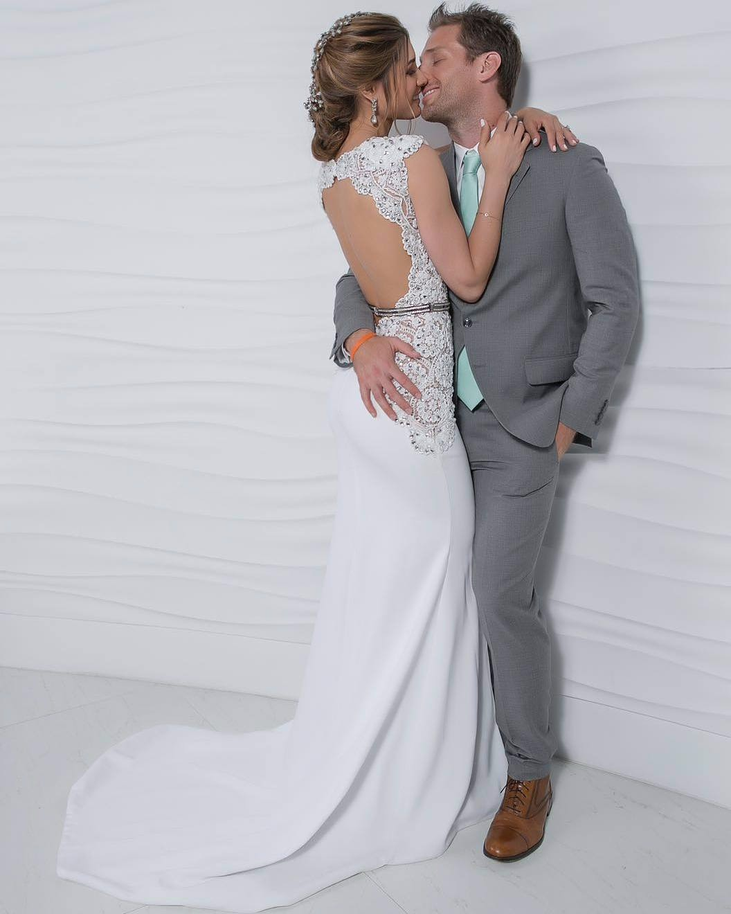 The Bachelor star Juan Pablo and wife Osmariel Villalobos hug after their wedding