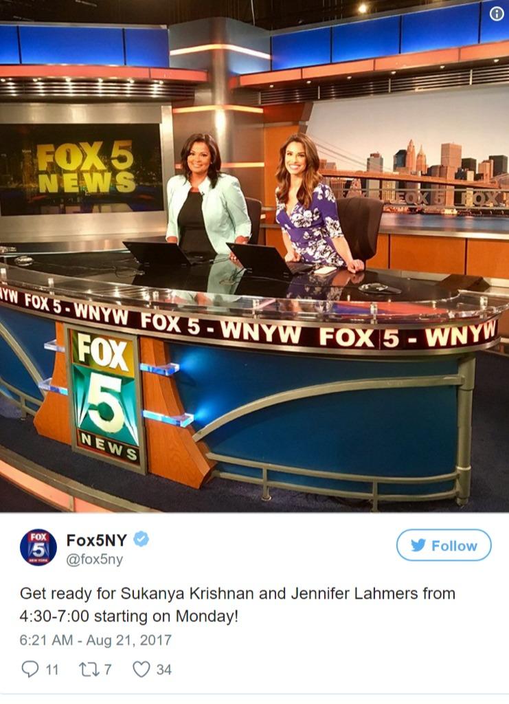 Sukanya Krishnan behind a desk with Jennifer Lahmers at Fox5NY set