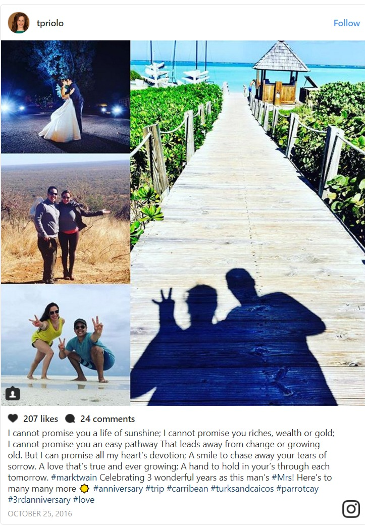 Teresa Priolo Instagram post dedication to husband on wedding anniversary