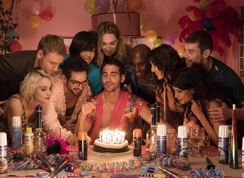 A still featuring Miguel Angel Silvestre and other cast from Sense8