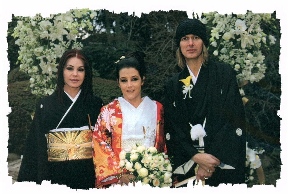 Lisa Marie Presley, her mother Priscilla Presley and husband Michael Lockwood, all dressed in Japanese dress (kimono) for the wedding of Lisa Marie Presley and Michael Lockwood.