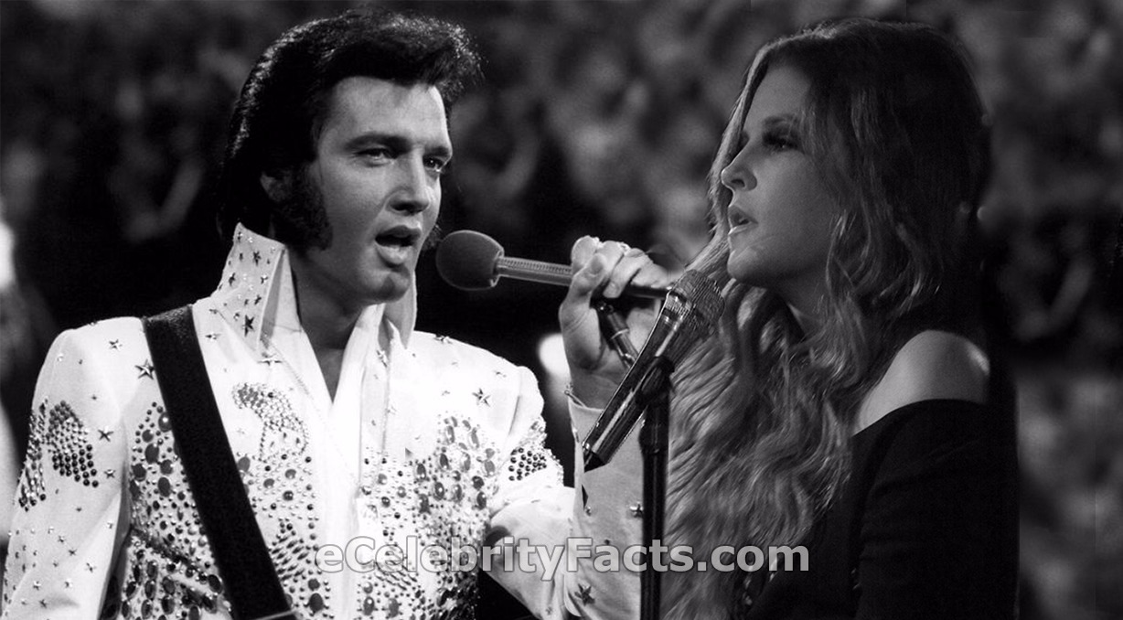 A black and white image of Elvis Presley holding a mic with his left hand. His daughter Lisa Marie Presley's image has been photoshopped on the side.