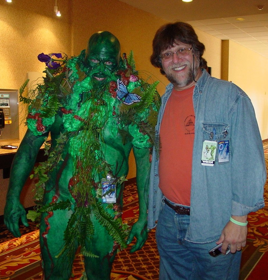 Len Wein poses with Swamp Thing