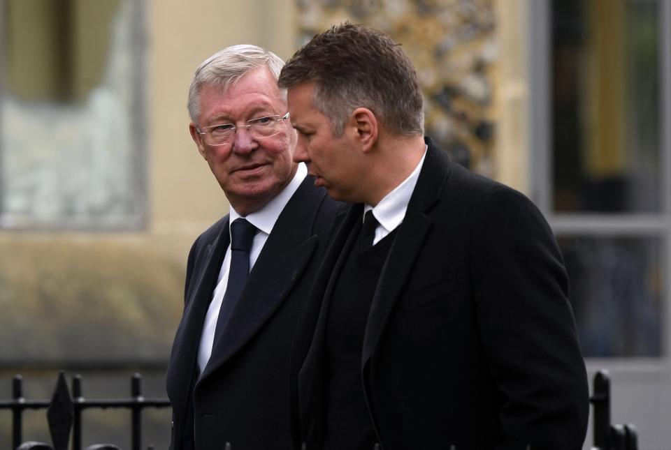 Sir Alex Ferguson with his son Darren Ferguson.