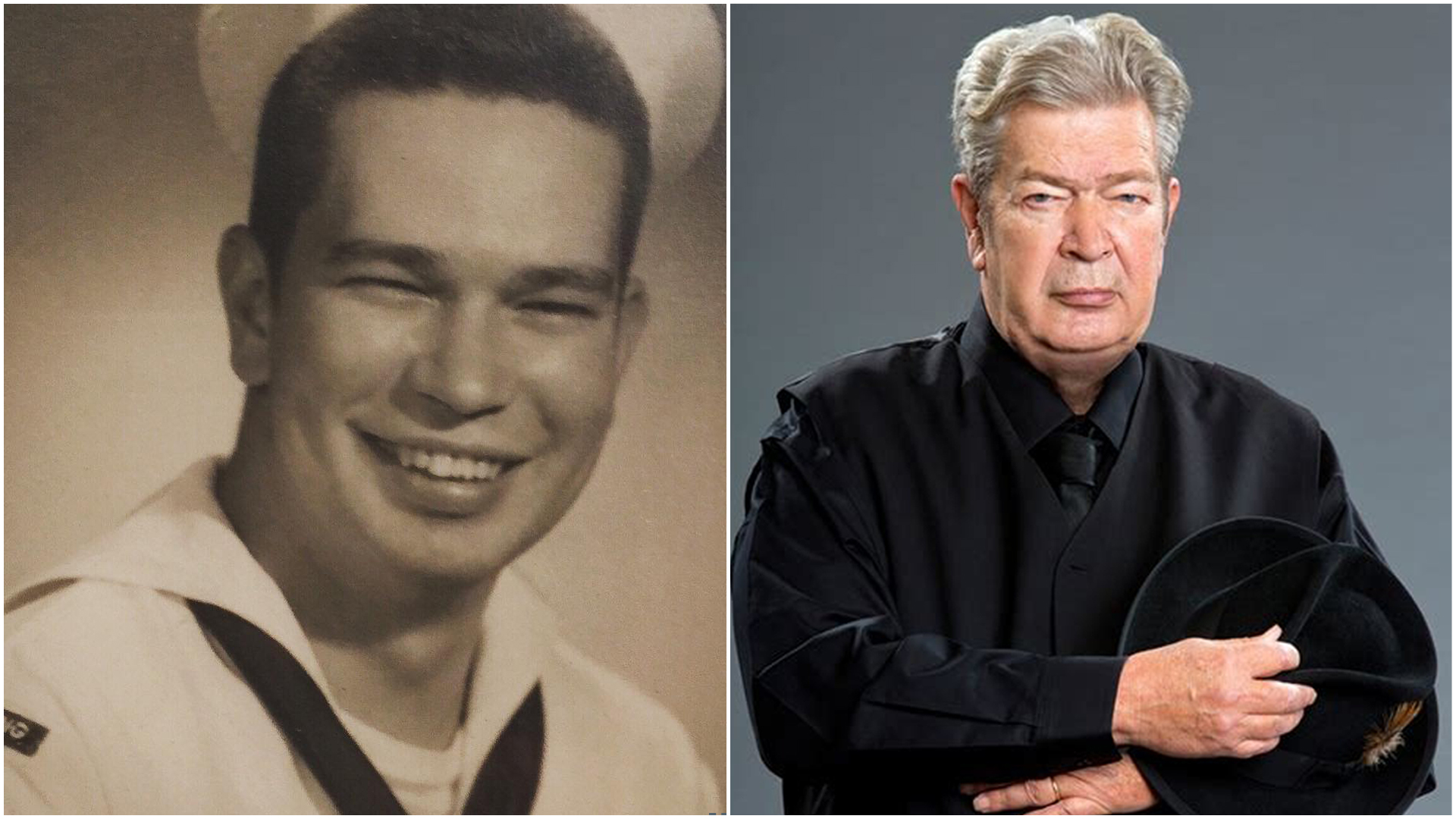 """Richard """"The Old Man"""" Harrison's young age picture (left) and old age picture (right)"""