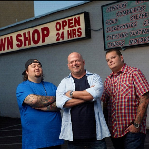 Rick Harrison, Corey Harrison and Chumlee sharing a smile