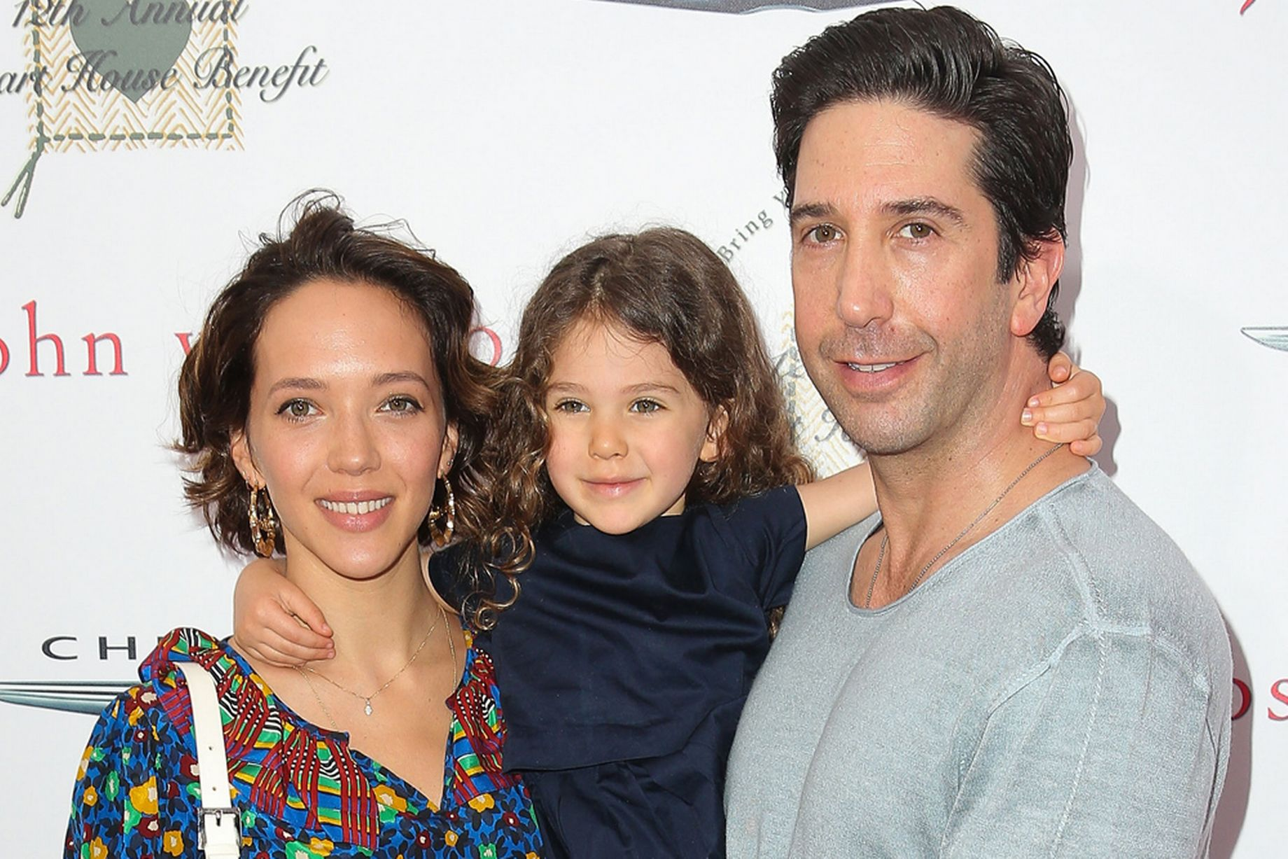David Schwimmer attends John Varvatos 12th Annual Stuart House Benefit with his wife, Zoe Buckham, and their daughter, Cleo.