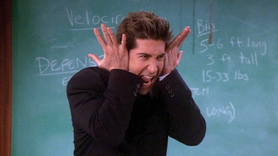 David Schwimmer in the set of Friends as professor Ross Geller