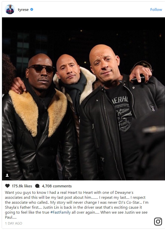 Tyrese Instagram post with The Rock and Vin Diesel