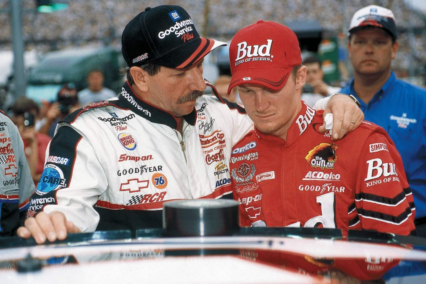 Dale Earnhardt is putting his right on his son, Dale Earnhardt Jr.'s shoulder