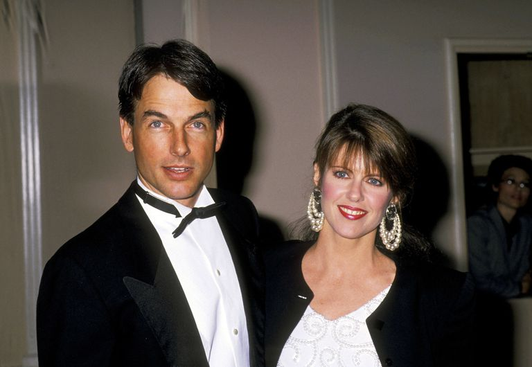 Mark Harmon and his wife are standing side by side