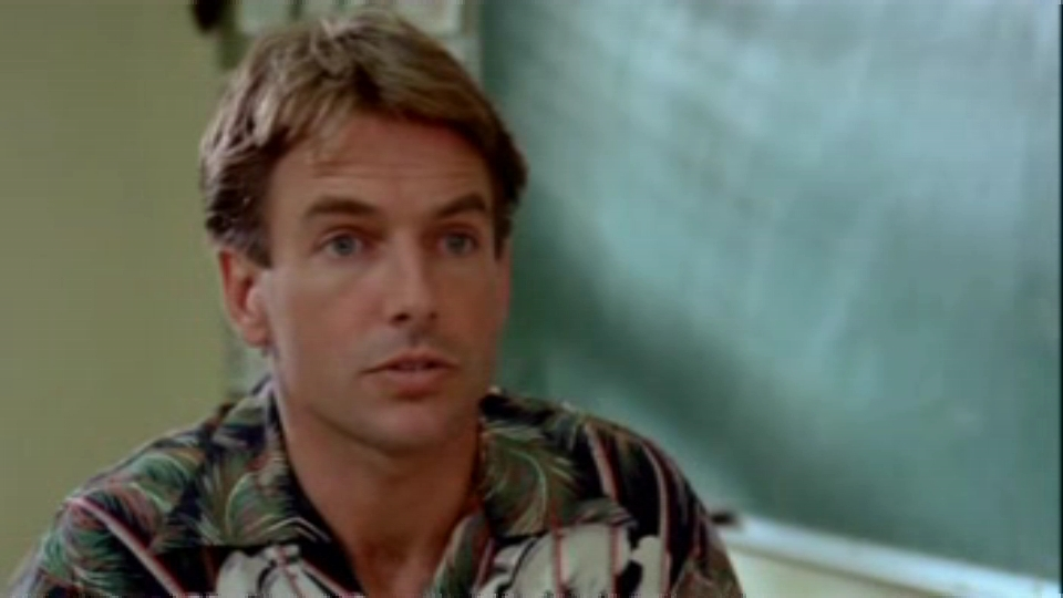 Mark Harmon is wearing a floral print shirt