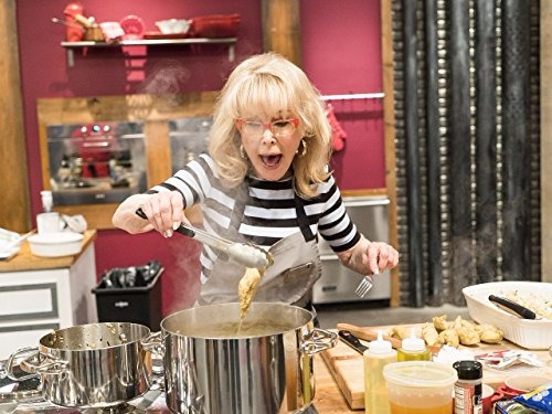 Barbara Eden shouting while cooking on the show Worst Cooks in America