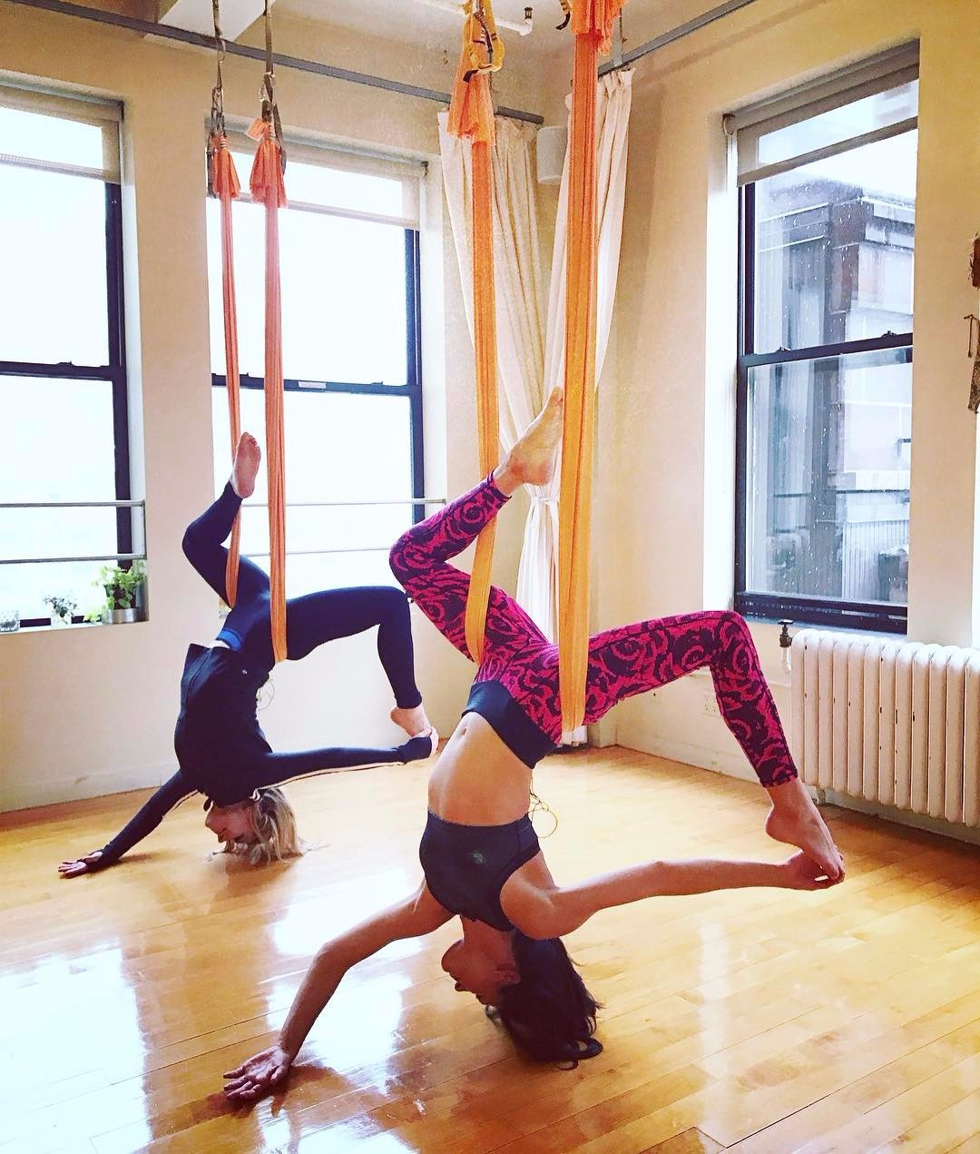 Raina Seitel performing aerial fitness workouts for her episode in New York Live.