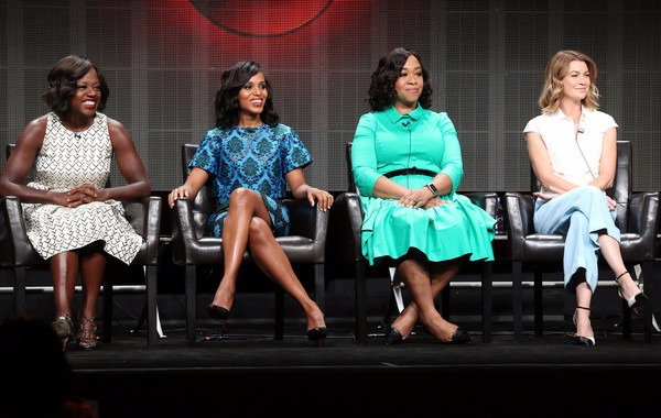 Shonda Rhimes with the leads from her greatest shows; from left - Ellen Pompeo, Viola Davis, Kerry Washington
