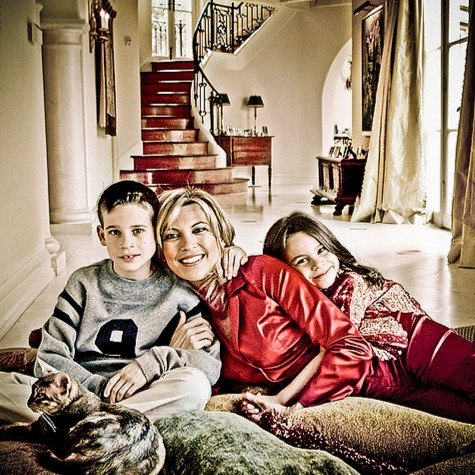 Vanna White's family picture with son, daughter and a cat in what looks their house in Beverly Hills, California
