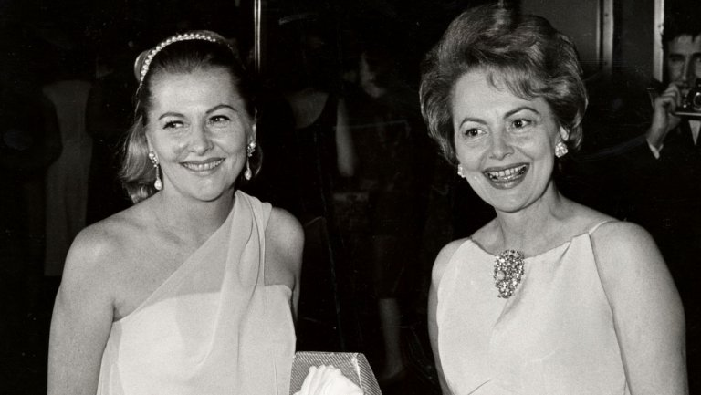 Black and white image of Olivia and Joan