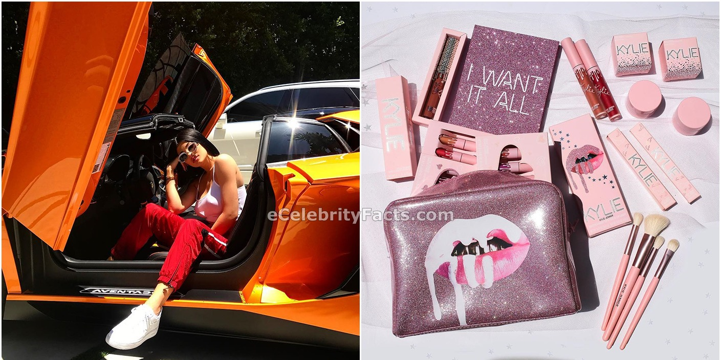 Kylie Jenner getting out of her car in the left, Kylie cosmetic products on the right