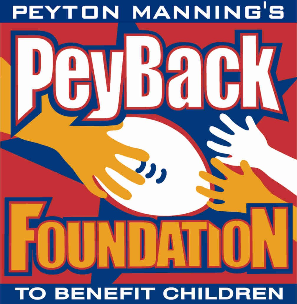 The logo of Peyback Foundation features hands of smaller children accepting a football from Manning