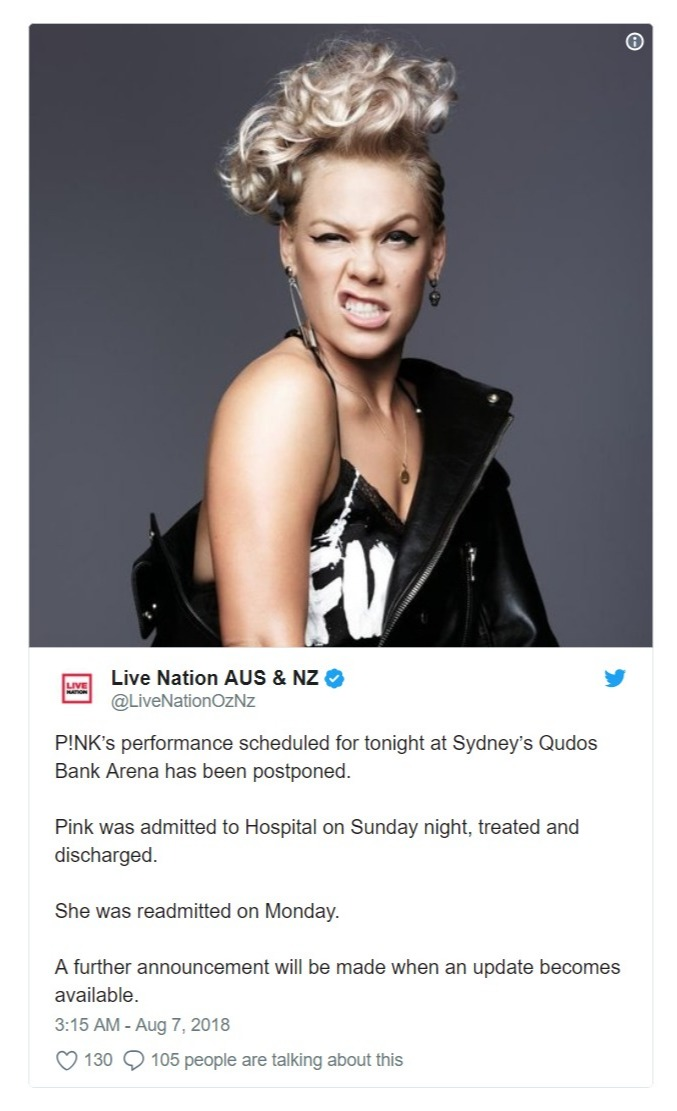 Pink's promoter, Live Nation's tweet regarding her bad health and canceled of the show schedules at Sydney's Qudos Bank Area