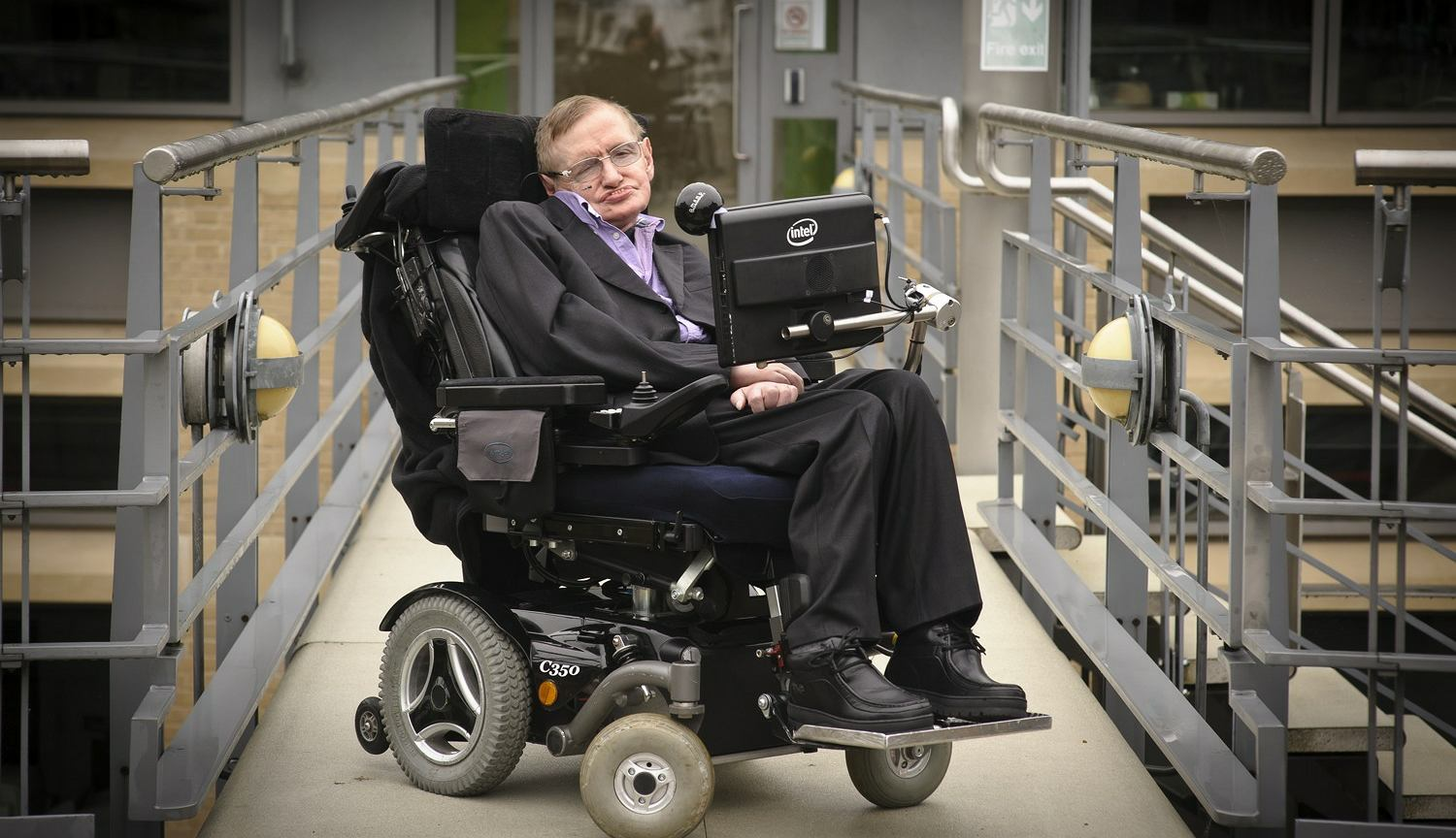 Stephen Hawking on his wheelchair