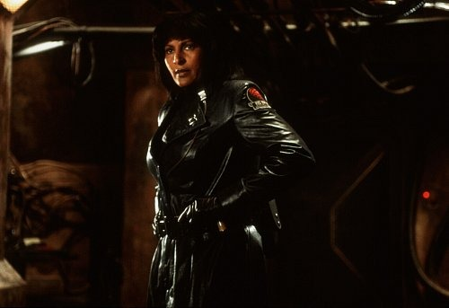 Actress Pam Grier looks confident on the leather jacket with her fierce look. She portrayed the role of lesbian character commander Helena Braddock in Ghosts of Mars.