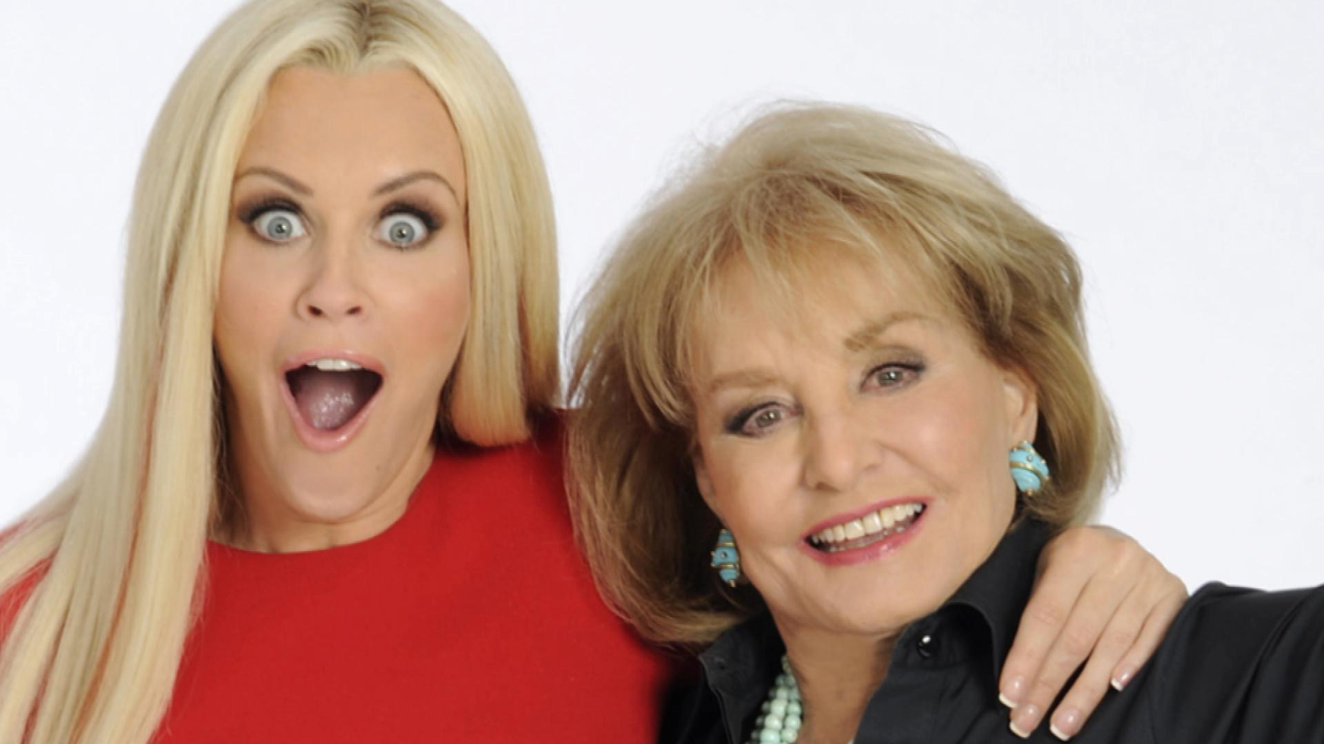 Jenny McCarthy hugging Barbara Walters and giving weird expression