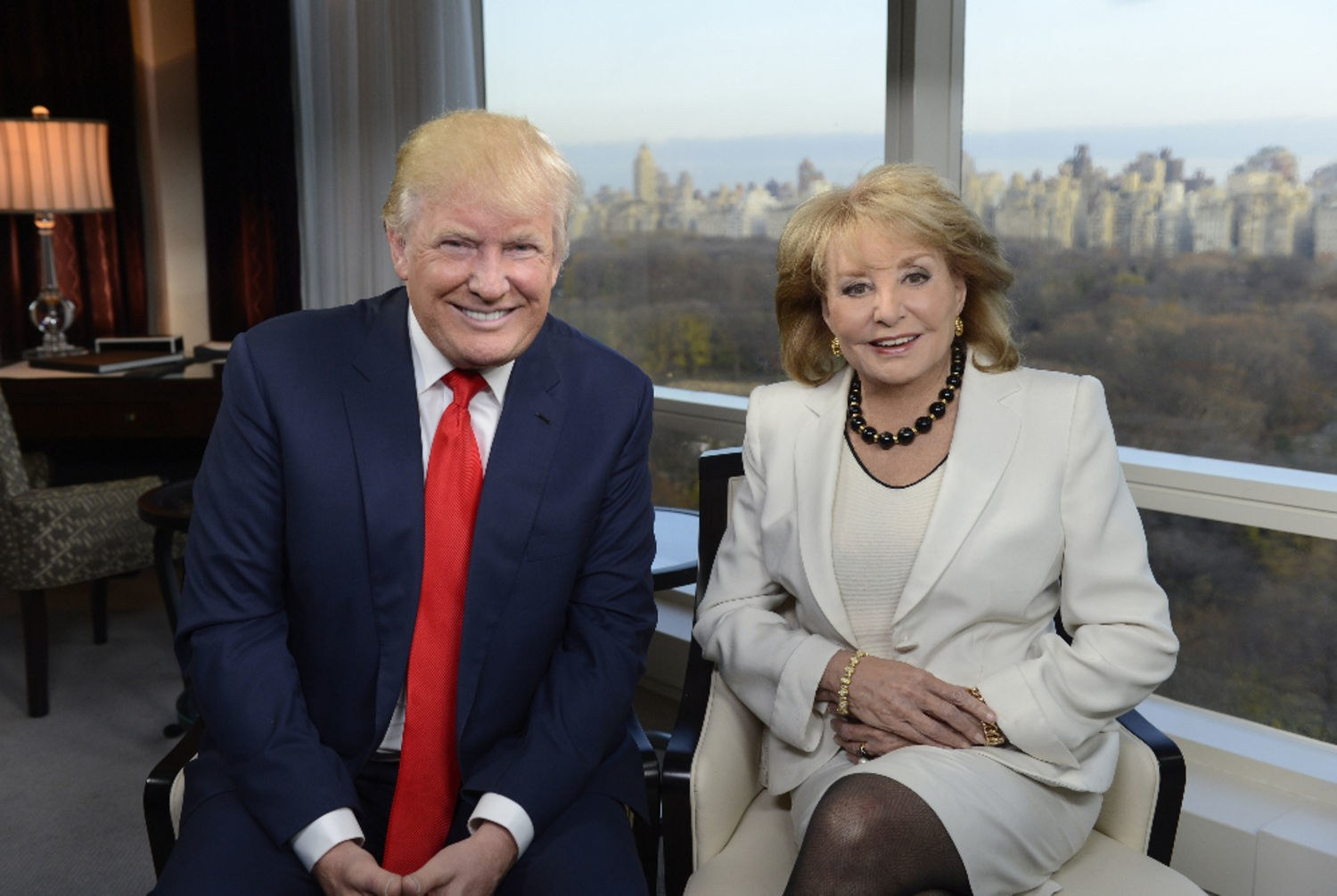 Presidential nominee Donald Trump and ABC News journalist Barbara Walters smiling for the picture in 2015 November.