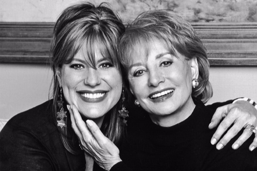 Famed journalist Barbara Walters and her daughter Jackie smiling. Here Barbara is seen caressing Jackie's cheek.