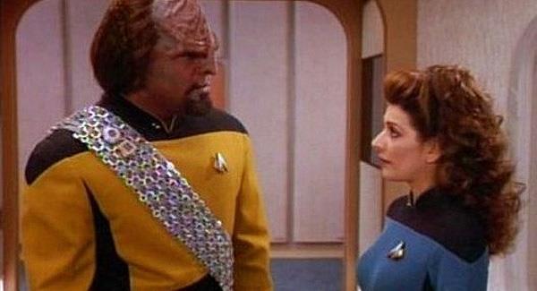 Deanna Troi and Worf of Klingon family