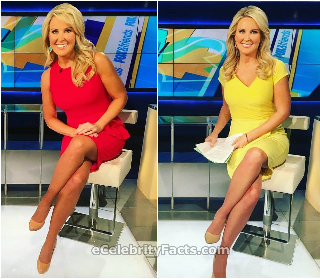 Heather Childers on Fox & Friends set wearing sexy dresses baring her legs
