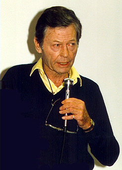 DeForest Kelley in his old age saying something through mic