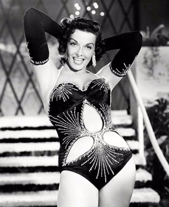 Jane Russell flaunting the one-piece swimsuit