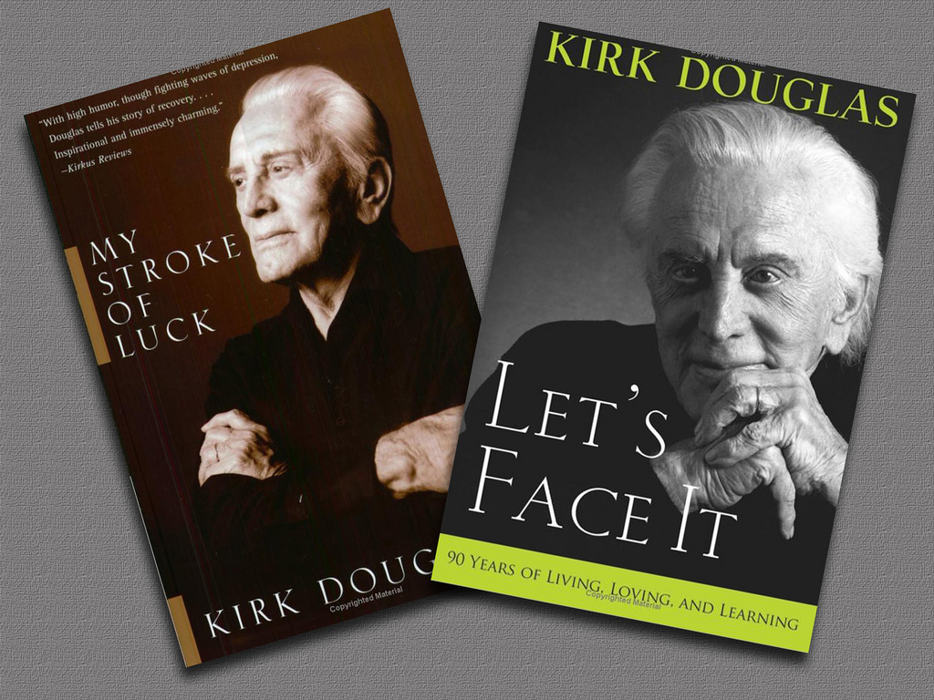 Kirk Douglas' two books,  his  memoir, Let's Face It and My Stroke of Luck