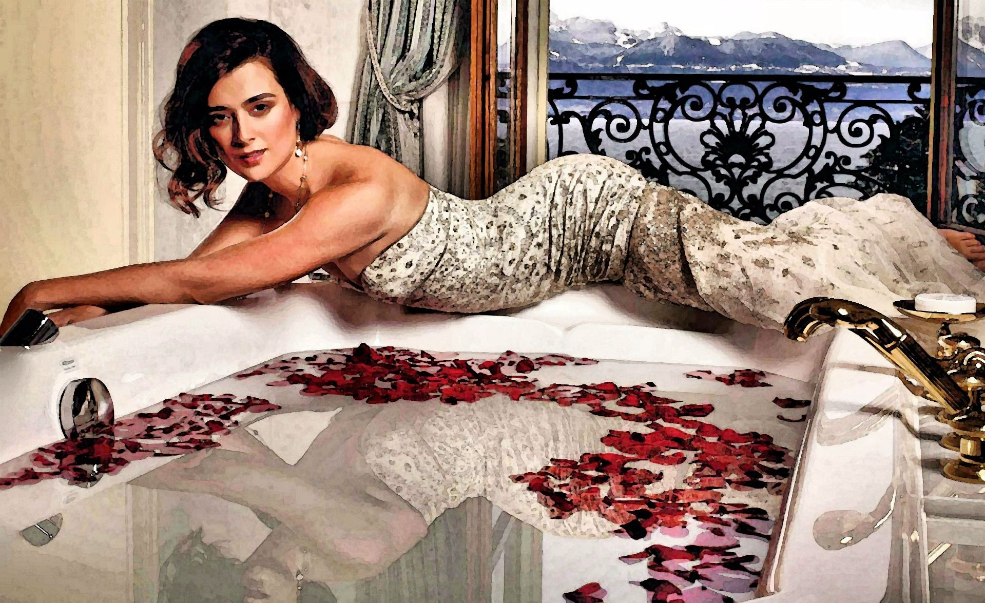 Cote De Paulo is looking elegantly sexy in her photoshoot where she dresses in a silver and white gown.